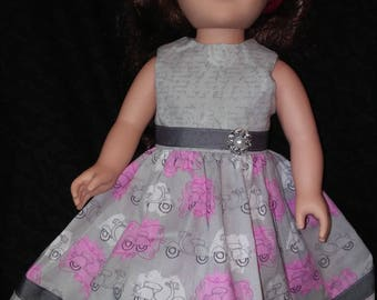 """18"""" doll clothes. Doll Dress. Grey and Pink. Paris Style. Doll Style. Summer Fun. Roses."""