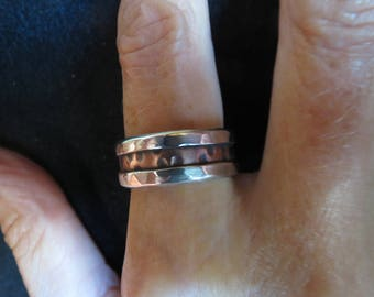Rugged Silver On Copper Ring
