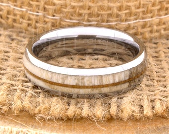 Tungsten Ring Tungsten Wedding Ring Band Mens Women's Wedding Band Red Wood Deer Antler Ring Promise Anniversary Dome 6mm Matching Ring Set