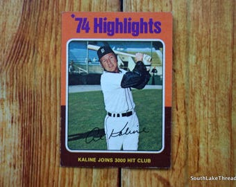 Vintage Al Kaline Detroit Tigers 1975 Topps Baseball Card 3000 Hits #4 74' Highlights Vintage Baseball Cards, Michigan, Trading Cards, 1970s