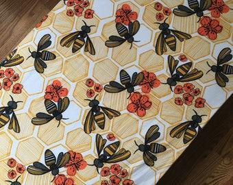 Honeybee crib sheet, honey comb nursery bedding / baby and toddler crib bedding