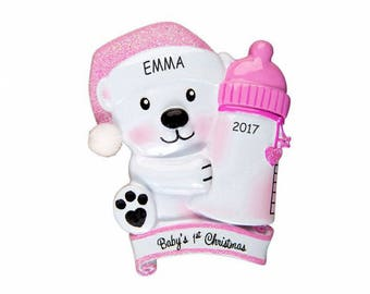 Personalized Baby Bear First Christmas Ornament - Pink