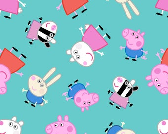 Peppa Pig & Friends Cotton Fabric / Peppa Pig, Nick JR SC 17170 / Peppa Pig by the  Yard and  Fat Quarters
