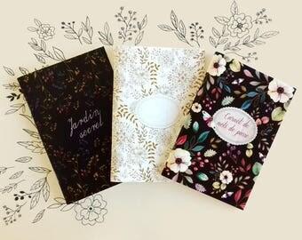 Carnets de notes, lot de 3 petits carnets, journal de poche, set papeterie, set 3 petits cahiers fleuris, carnets de voyage, journal bohème