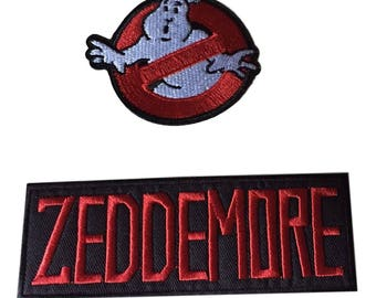 Ghostbusters No Ghost With Zeddemore Red Black Name Tag Costume Patch Set of 2