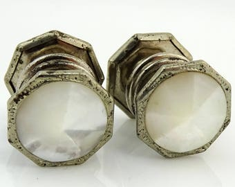 Vintage 1920s Art Deco Cufflinks Snap Link Rivoli Mother-of-Pearl
