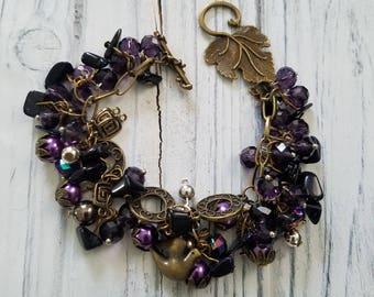 Beaded Btacelet Woman Boho Bracelet Purple Bracelet Charm Bracelet Chunky Bracelet Cluster Beaded Bracelet Weding Bracelet Bridal gift