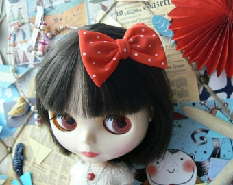 Red Blythe hair clip whith white dots Bow for dolls handmade in Paris France