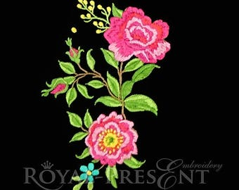 Machine Embroidery Design Rosehip Bouquet - 2 sizes