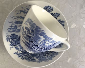 Enoch Wedgewood Countryside blue and white tea cup and saucer