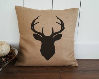 Stag Pillow Cover.  Stag Burlap Pillow. Burlap Pillow Cover. Zipper enclosure. Rustic home decor. Rustic Chic.