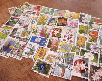 50 Flower Postage Stamps. Worldwide Stamps