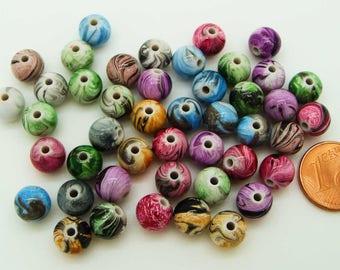 50 perles rondes 8mm multicolores Acrylique irisés stries RES-17 Création bijoux