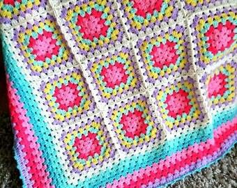Crochet Granny Square Blanket in Pastel colours