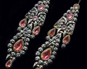Antique Georgian Earrings Long Ear Pendants Gold Silver Diamonds Citrine (#6301)