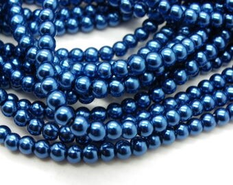 300 hard Blue Pearl glass Pearl 4 mm beads