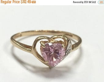 20% OFF October Birthstone- Pink Tourmaline Heart Ring 10K Yellow Gold Size 7.75