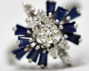 September Birthstone - 14k White Gold, Diamond and Rich Blue Sapphire Vintage Engagement Ring