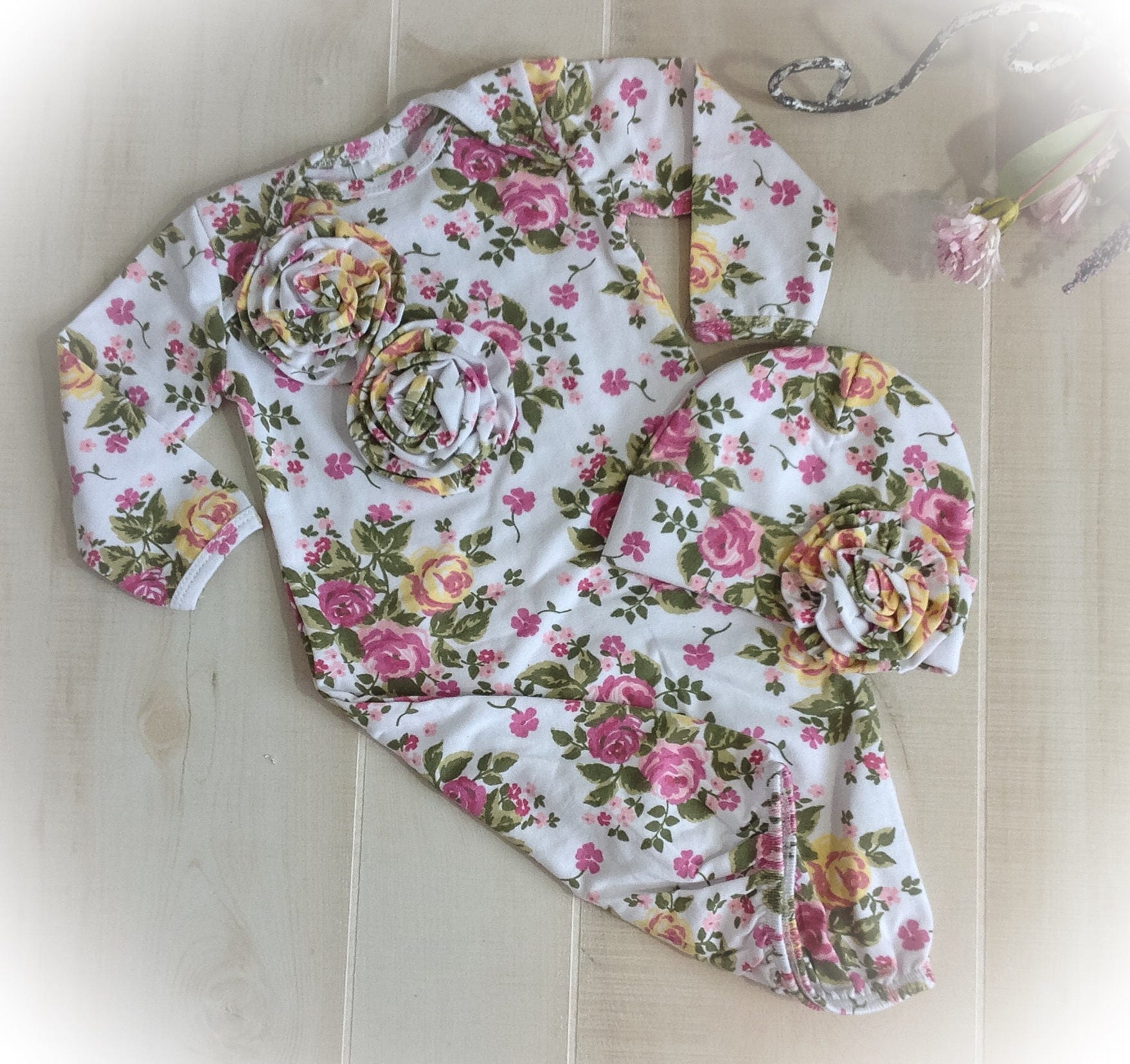 Newborn Girl Hospital Outfit, Newborn Girl Floral Gown, Baby Girl ...