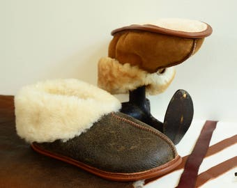 The Best Men's Sheepskin Slippers - Shearling Booties Fur House Shoes Leather Wool Suede
