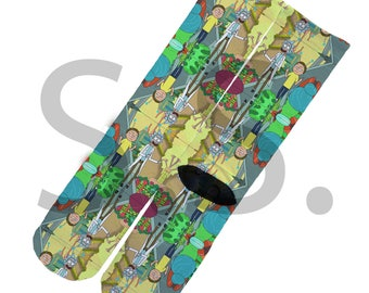 Crew Socks - Rick And Morty Finger ! space portal flip the bird adventures galaxy crazy funny sitting elites elite sock