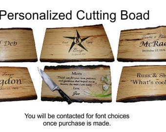 Engraved Cutting Board, Shag Bark Hickory Cutting Board, Rustic Cutting Board, Hickory Cutting Board, Live Edge Cutting Board