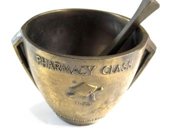 Brass Pharmaceutical Mortar and Pestle  Pharmacy Class of 1972 Rx