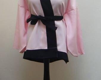 Top pink & Black kimono with belt