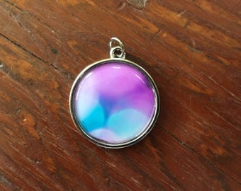 Unique purple and teal photo pendant, bokeh photo pendant, abstract photo