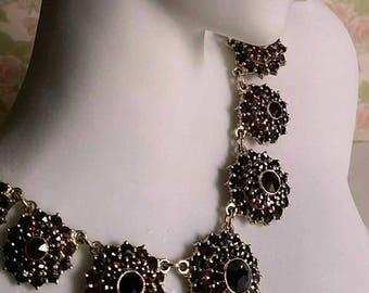 Vintage Czechoslovakia Bohemian Garnet 900 Silver Rosette Necklace