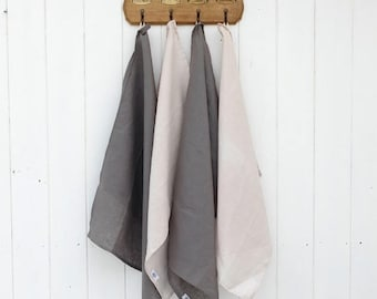 JUNE OFFER Linen Tea Towels - Set of 2. Linen Towels - Charcoal and Beige Available.