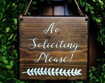 No Soliciting sign   7x8   Door Sign   No Soliciting Door Sign   Do Not Disturb Sign   No Solicitation Sign   No Strangers Sign   Door Decor