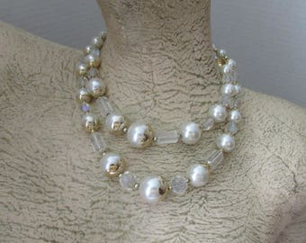 Vintage Crystal Faux Pearl Necklace Double Strand with Closure Japan