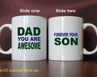 Dad Fathers Day 11 oz Coffee Mug Gift from Son, Daddy Christmas Gift, Personalized Birthday Gift for Papa, MDA014