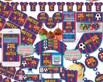 Kit #Imprimible #Barcelona editable #BARÇA + #candy bar (sweet table) toppers wrappers invitations flags #DIY
