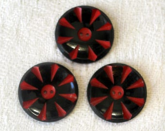 """1940's Red and Black Buttons - Glossy Black Spoke Pattern - Cut Away Design - 1 & 1/16"""""""