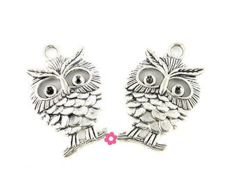 x 4 (283D) 35x22mm silver OWL pendant