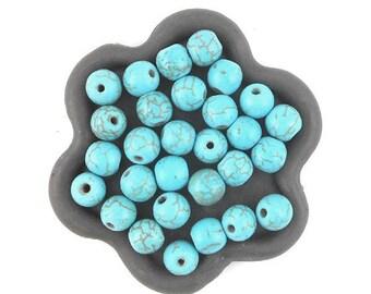 x 50 beads 6mm round turquoise howlite (35)