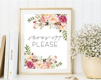 70%OFF home floral print, floral quotes, shoes off sign, inspirational print, motivational quotes, typography quotes, instant download