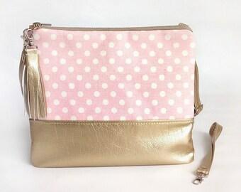 Crossbody bag Gold and dots pink purse  Clutch bag Girlfriend gift Handbags  For women Pink purse