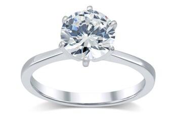 Diamond Engagement Ring 1.5 Ct- Minimalist Solitaire Diamond Ring 14K Gold- Tapered Band Solitaire Engagement Ring- Round True Diamond H-