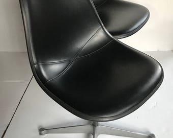 Eames Upholstered Fiberglass Shell Chairs for Herman Miller, a pair