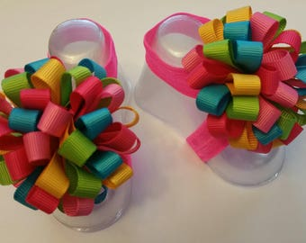 Rainbow Bubble Bow Baby Barefoot Sandals