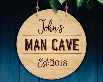 Personalised wooden Man Cave sign. Perfect husband / brother / mens birthday present