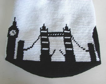 Crochet pattern mochila bag London skyline, Big Ben, St Paul's Cathedral London Eye Tower Bridge, tapestry crochet pattern shoulder bag pdf