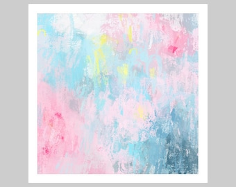Large Abstract Painting, modern large wall art, blue and pink wall art, print from original painting, pastel abstract art print,