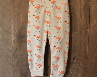 9/12M Organic Flamingo Joggers, Leggings, Baby Toddler Pants, Fall