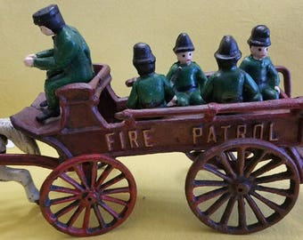 Cast Iron Fire Patrol Horse and Buggy