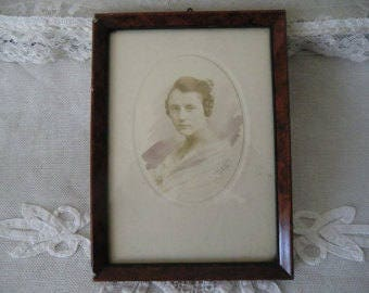 Vintage antique picture frame around 1900 graceful woman portrait photography original old picture frame with lady portrait