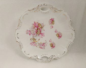 Vintage Gold Trim Serving Tray Plate with Handles